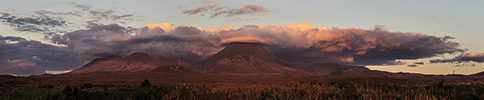 New Zealand, Tongariro Sonnenuntergang, Panorama