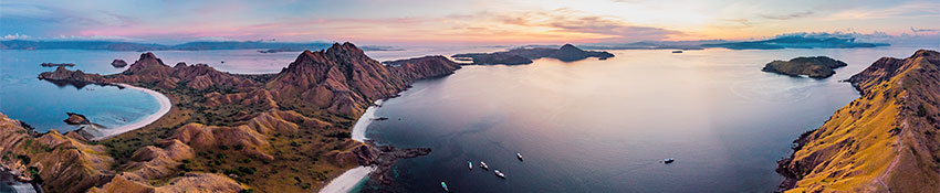 Panorama sunset at Padar Island