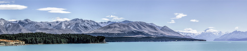New Zealand, Southern Alps, Lake Pukaki panorama