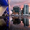 Auckland, sunset, harbour, skyline