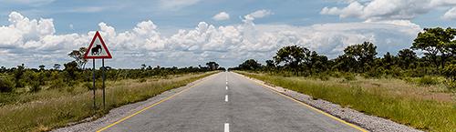 Chobe NP, Botswana, Verkehrszeichen