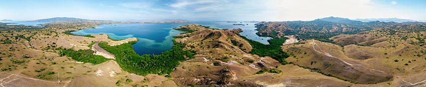 Drone panorama of Rinca Island