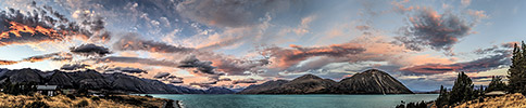 New Zealand, Southern Alps, Lake Ohau sunset panorama
