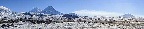 Kamtschatka, Kljutschewskoi-Besymjanny-Vulkangruppe Panorama