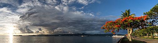 Fiji, Suva, harbour panorama